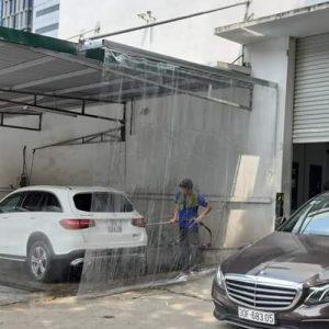 Rèm bạt kéo ngăn nước khu rửa xe